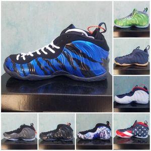 Top Foam um Pro Homens Basketball Shoes Penny Hardaway Tan Galaxy 2.0 metálica floral do ouro Berinjela Espumas 1 Sports Sneakers Size40-47