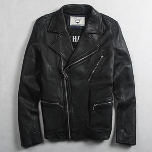 erkekler için ince uygun motorcu ceketi erkekler siyah gerçek deri fermuar cepleri olan Avirexfly erkek moda hakiki deri ceket