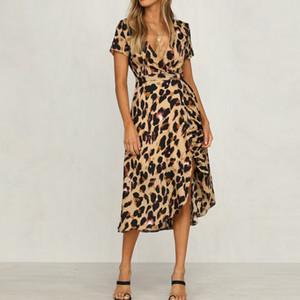 Mulheres Leopard Print Boho Maxi Vestido De Senhoras De Férias De Manga Curta Vestido Longo