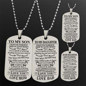 Moda Color Plata Square collar de los colgantes a nuestro hijo / Cartas Militar Licensing collar de los colgantes de los hombres regalos de la joyería