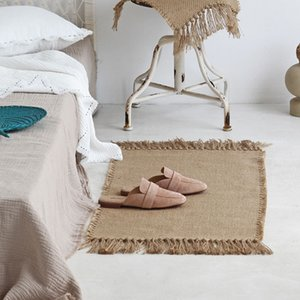 거실 침실 장식 홈 카펫 바닥 문 매트 깔개 Tapete 표 주자 황마 직물 매트 손 짠 카펫