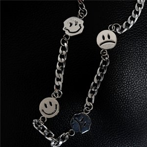 The tide smiling face men and women with street hip-hop titanium steel couple ins Joker necklace