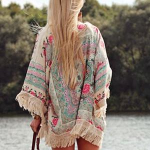 Nueva venta caliente para mujer elegante Top Boho Beach Summer Floral Tribal Kaftan Kimono borlas Cardigan suelta elegante blusa de belleza