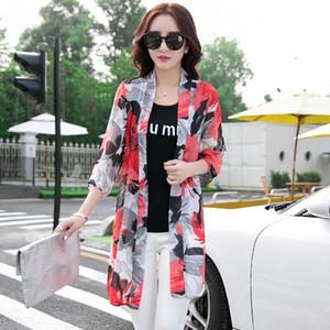 İlkbahar Yaz Şifon Bluz Gömlek Kadınlar Kimono Hırka Casual Uzun SunScreen Bluz Gömlek Gevşek Plaj Bayanlar Q1191 Tops