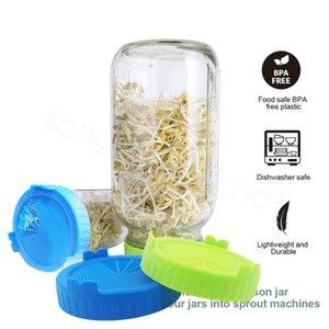 Mason Jar Germinación Las tapas de la categoría alimenticia de malla Sprout kit de la cubierta durable de semilla que crece vegetal germinación anillo de cierre de la tapa FFA4146 100pcs-6