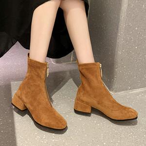Venta-Slim caliente estiramiento del tobillo cargadores para las mujeres dedo del pie acentuado del calcetín cuadrado de botas de tacón bajo los zapatos de mujer Moda Bota