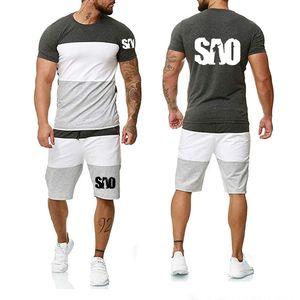 2020 Лето Мужская с коротким рукавом SAO Sword Art Online Printed хлопка высокого качества вскользь Мужская футболка + брюки Костюм H 2шт