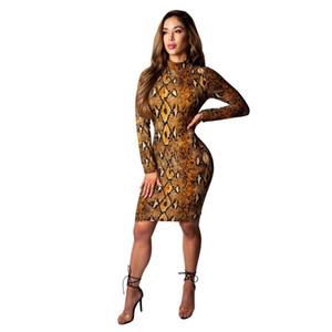 2019 Yeni Moda Seksi Snakeskin Bodycon Uzun Kollu Elbise Kadınlar için Silm Clubwear Parti Elbiseler