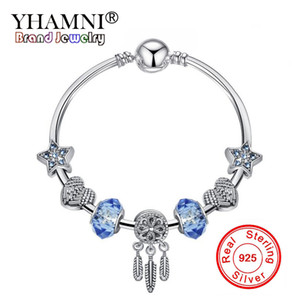 Твердые 925 Sterling Silver Blue Star браслет Сердце Застежка Сердце Кристалл бусины браслет Pandora для женщин имениннице подарков XJ15