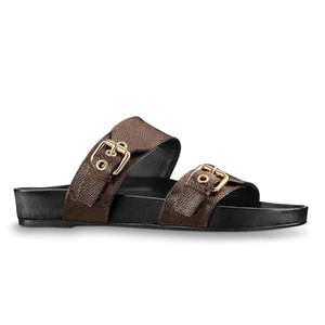 2020 Luxus-Design Frauen Strand Pantoffeln Sommer Bom Dia Wohnung Mule Sandale Damen goldfarbenen Schnallen zwei Riemen schieben Schuhgröße 35-41 mit Kasten