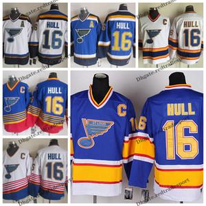Mens 1991 St. Louis Blues Vintage # 16 Brett Hull Hockey azul jerseys baratos Brett Hull cosido camisas C Patch M-XXXL
