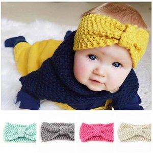 Baby gestricktes Stirnband Kinder Winter bowknot Turban Mädchen Knoten Fest Haarband Mädchen Boutique Princess Headwrap Ohr-Wärmer Haarschmuck D6874