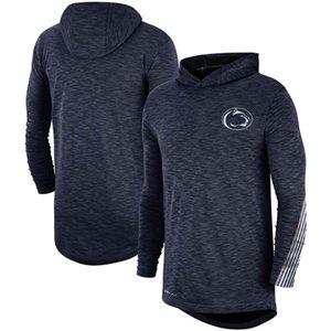 Camisas de la NCAA al aire libre Penn State Nittany Lions de la Armada Rendimiento Deportivo de la línea lateral camiseta de manga larga con capucha de la camiseta
