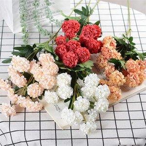 Flor artificial rama larga crisantemo decoración del hogar ramo planta flor pared flor falsa arreglo de boda flores