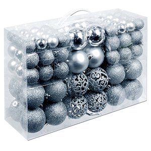 100Pcs Box Christmas Ball Box Set Available Lightweight Holiday Christmas Tree Ornament Decorations Silver