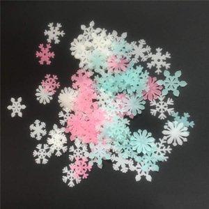 3 colores 3 cm copo de nieve pegatinas de pared estéreo plástico luminoso fluorescente paster que brilla en la oscuridad calcomanías para habitación de bebé