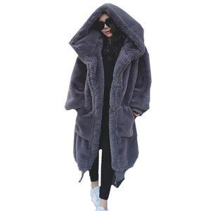 Зима теплая с капюшоном большой размер средней длины сплошной цвет меха искусственного меха женщин 2018 Новый повседневная с длинным рукавом женщин пальто женский
