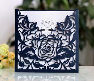 Invitaciones de boda asequibles 2019 Invitaciones de boda de bolsillo cortadas con láser Suites personalizables con sobres en blanco Impreso personalizado en blanco