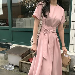 Women Summer Elegant Long Chiffon Dress High Waist Sashes Short Sleeve Slim A-line Midi Sundress French Style