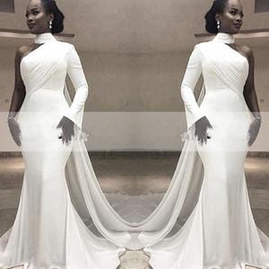 2020 African White High Neck Satin Mermaid Abendkleider Eine Schulter Geraffte Sweep Zug Mit Wrap Formale Partei Roter Teppich Abendkleider