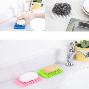 New Creative Silicone Soap Holder With Drain Bathroom Accessories Molds For Soap Sink Sponge Drainage Soap Dish Plate