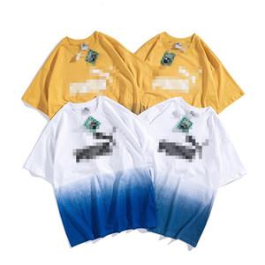 Мужские Женские дизайнерские футболки Модные мужские женщин летние Tshirts Марка Короткие рукава Gradient Letters Print Spring Tshirts M-2XL C 2052000V