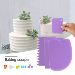 3Pc Baking Pastry Tools Plastic Dough Knife Icing Fondant Scraper Decorating Plain Smooth Jagged Edge Spatulas Cutters Cake Tool