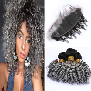Ombre Grey Aunty Funmi Curly Pacotes de cabelo com laço frontal Encerramento 1B Grey Ombre Bouncy espiral Curls Weave do cabelo humano e Frontais