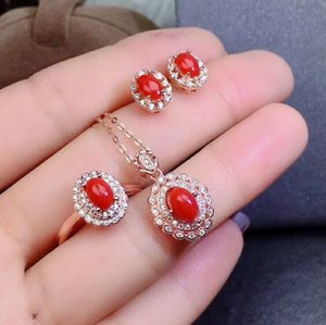 MeiBaPJ Natural Red Coral Gemstone Fine Wedding Jewelry Sets for Women 925 Pure Silver Earrings Ring Pendant Necklace 3 Suits