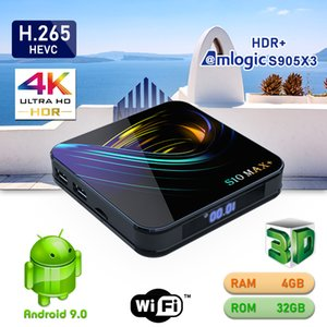 Newest S10 Max+ Android 9.0 TV Box Amlogic S905X3 Quad Core 4GB 32GB Dual Wifi Bluetooth Smart Media Player Better T95Z Plus TX6 H96 HK1 max