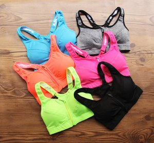 sujetador deportivo para mujer GYM yoga running cremallera Ropa interior deportiva fija a prueba de golpes Chaleco transpirable de secado rápido
