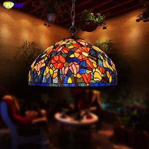 FUMAT 스테인드 글라스 펜던트 램프 Kapok Flower 행 램프 LED 서스펜션 조명기구 Handwork Art Glass 펜던트 라이트