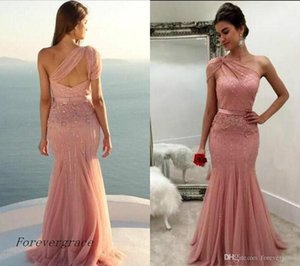 2019 Newest Chic One Shoulder Blush Pink Prom Dress Sleeveless Long Formal Holidays Wear Graduation Evening Party Gown Custom Made Plus Size