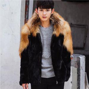 Clobee Homens Coats 2019 Mens Inverno Luxo Brasão Plus Size Mink Faux Fur Thicken Blusão manga comprida Parka Fur Coats M468