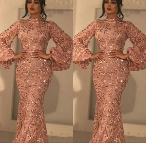 2020 New Bling Mermaid Prom Dresses New Árabe Sexy alta Neck mangas compridas lantejoulas Blush rosa lantejoulas Plus Size vestidos de noite formal do partido