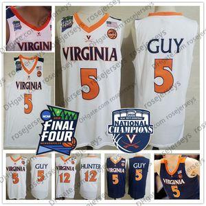 2019 Champions Virginia Cavaliers Kyle hombre blanco Jersey # 5 UVA NCAA Final Four 12 De'Andre Hunter hombres de la marina de guerra Baloncesto azul jerseys XXXL