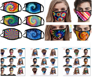 3D Printed Face Mask Men Women Kids ice silk Mouth Mask Washable Outdoor Sun UV Shade Protective Designer Mask for tie-dye HH9-3051