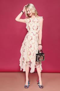 2019 Runway Summer Holiday Dress da donna senza maniche in pizzo a rete fiore ricamo a metà polpaccio increspato Ruffles abiti da festa