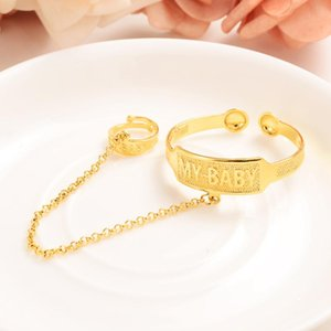 Dubai Gold Stamp baby SMALL girl boy Bangle Child Bracelet With Ring for Kids african Children baby Jewelry Arab party Gifts