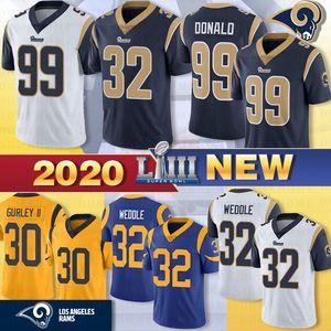 16 Jared Goff 30 Todd Gurley St.louis jerseys Ram 99 Aaron Donald 32 Eric Weddle fiebre del color de 2019 del Super Bowl LIII fútbol jerseys azul 2020