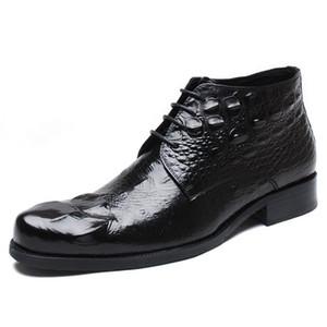 Pelle di coccodrillo scarpe stivali degli uomini della caviglia stivali da uomo scarpe stivali vestito convenzionale per gli uomini zapatos de hombre de vestir formale botas hombre Cuero