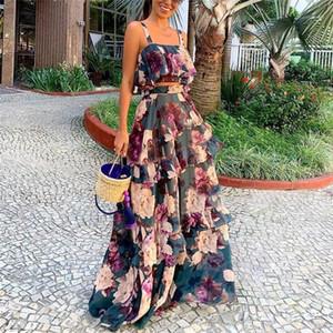 Kondolieren Top Lotus-Blatt-Frauen 2PCS Kleider Designer Frauen Kleidung Blumendruck-Damen beiläufige Kleider Mode