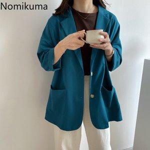 Nomikuma dentellato Collare Casual maniche lunghe Giacche Donna Solid colore monopetto tasche della moda di New Blazer Feminino 3b484