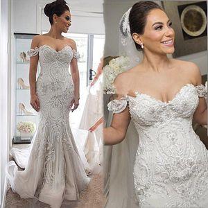 2020 Steven Khalil Amazing Detail Beach Mermaid Wedding Dresses Dubai Arabic Off-shoulder Wedding Gown Plus Size