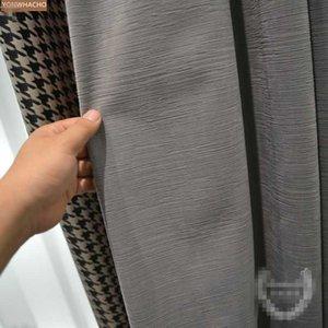 사용자 정의 커튼 간단한 현대 빛 거실 바닥에서 천장 예술 회색 천으로 정전 커튼 얇은 명주 그물 드레이프 B926