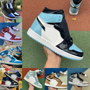 2019 высокое 1 ОГ Трэвиса Скотта X мужчины баскетбол обувь Турбо зеленый История происхождения НРГ х ОО Союза женщин Retroes 1С в формате UNC белый синий спортивная обувь