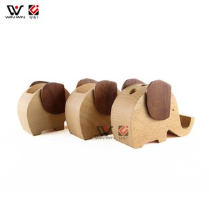 Elephant Shape Wooden Stand Holder Brush Pot Natural Wood Bamboo Speaker Wooden Mobile Phone Holder Wooden Cell Phone Accessories,