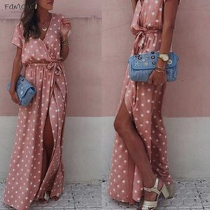 Womens Summer Dresses Sexy Pink Wave Point V Neck Maxi Dress Fork Opening Long Dress With Polyester Belt Large Summer Dresses Casual