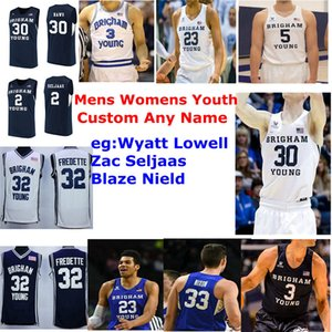 2020 BYU Cougars Maillots Wyatt Lowell Jersey Zac Seljaas Blaze Nield Alex barcello Basketball Hommes Maillots personnalisés Cousu
