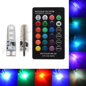 2X T10 Silika Jel RGB W5W Uzaktan Kumanda RGBW LED 501 194 168 6SMD 5050 Strobe Araç Kama Yan Işık DC 12V Araba Ampüller